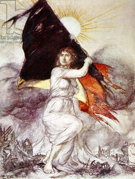 Allegory of Belgium during ww1, drawing by Arthur Rackham