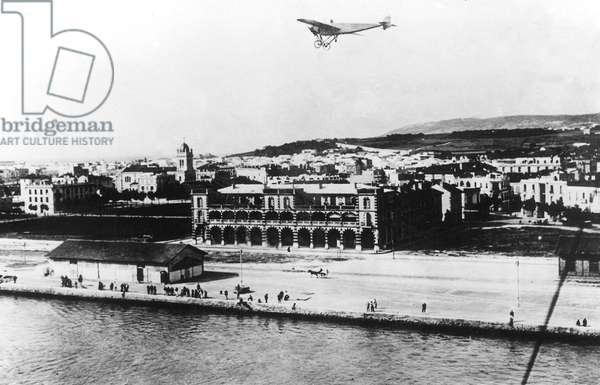Roland Garros (1888-1918) French pioneer of the aviation, here flying over Bizerte (Tunisia)