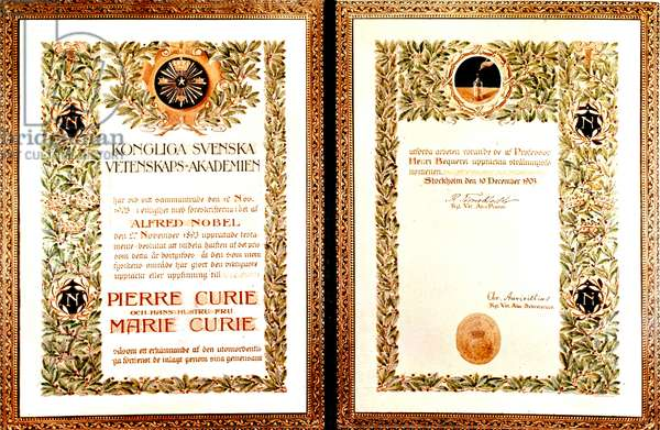 Physics Nobel prize given to Pierre and Marie Curie for their discover of natural radioactivity, 1903