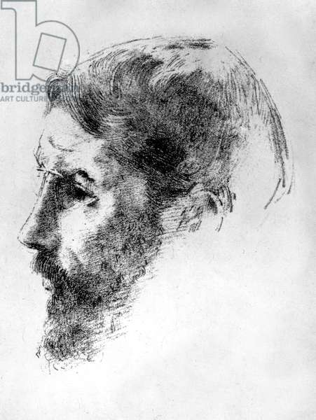 French painter Pierre Bonnard (1867-1947) in 1902, lithography by Odilon Redon