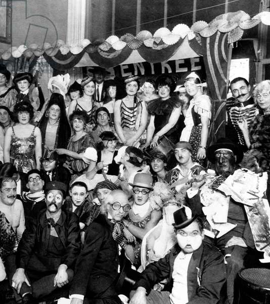 Surrealist fancy dress ball in Montparnasse, Paris, 1925 in presence of Tsuguharu Foujita (c, bowler hat), Adolphe Feder, Leopold Levy, Pierre Ladureau