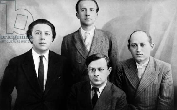 Surrealists : Andre Breton, Paul Eluard, Tristan Tzara and Benjamin Peret in 1920