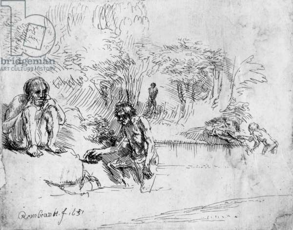 Bathers, drawing by Rembrandt Harmenszoon van Rijn, 1651