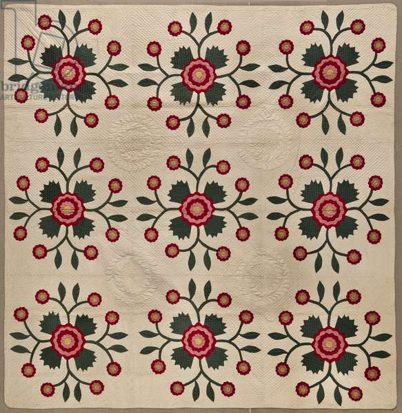 Whig Rose Quilt, c.1850 (cotton)
