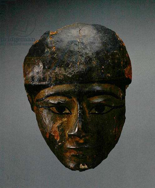 Mask from a coffin, New Kingdom (gessoed and painted wood)