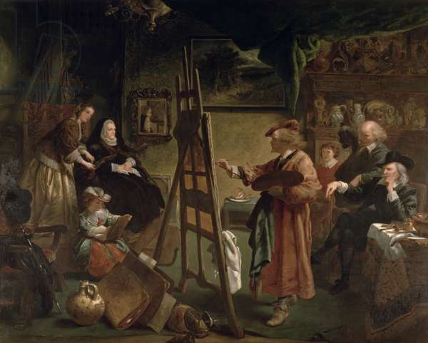 Rembrandt in his Studio (oil on canvas)