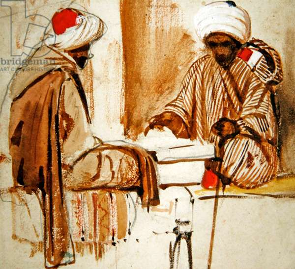 Two Arabs playing Backgammon, 1840s (w/c on paper)