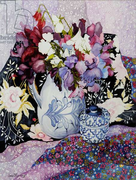 Sweet peas in a blue and white jug with blue and white pot and textiles (w/c on hand-made paper)