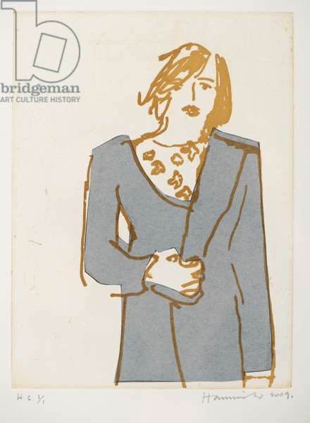 Woman in an Overcoat H.C. 1/1, 2009 (Chine-collé etching)