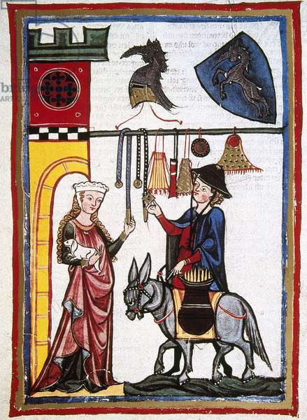 Dietmar von Aist, Austrian poet, provides the goods to the lady, disguised as a merchant. Codex Manesse (ca.1300).