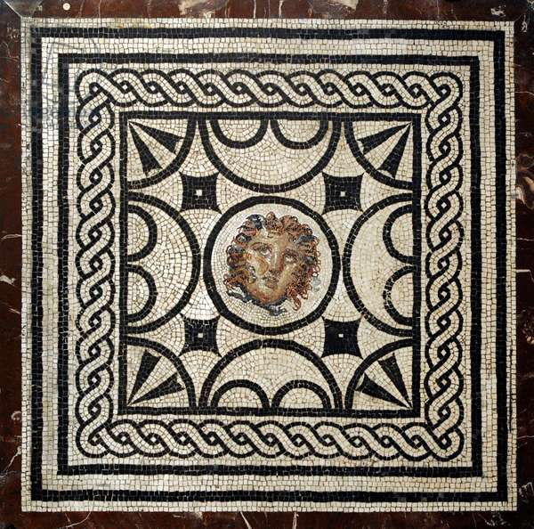Roman mosaic, Emblem with head of Medusa, From Pompeii, House of the Vestals (VI, 1,7), Italy