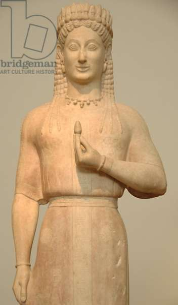 Kore by Aristion, 550-540 BC (marble)