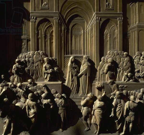 Lorenzo Ghiberti (1378-1455), Gates of Paradise, Baptistery, Detail, Solomon and Queen of Sheba, Florence, Italy