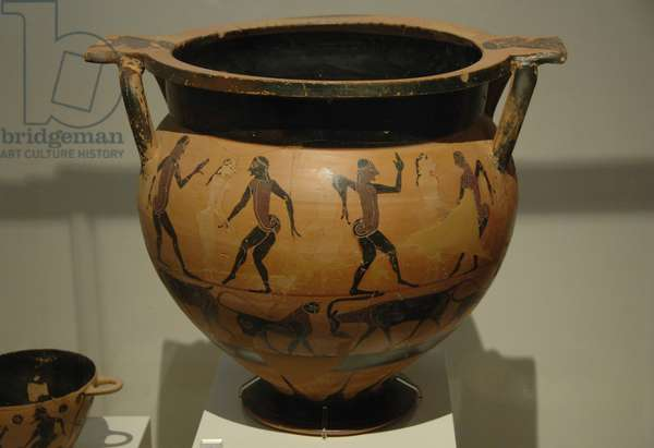 Greek Art. Archaic period. Krater painted with scenes of men and women dancing.