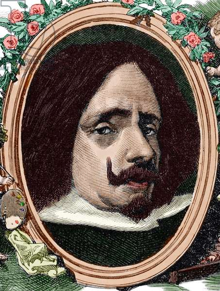 Portrait of Diego Velazquez (colour engraving)