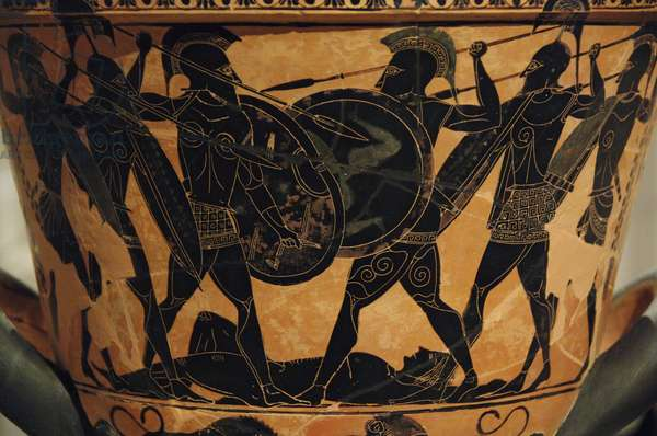 Greek art. Attic krater painted with black figures representing an Homeric battle around the body of a dead warrior (possibly Patroclus).