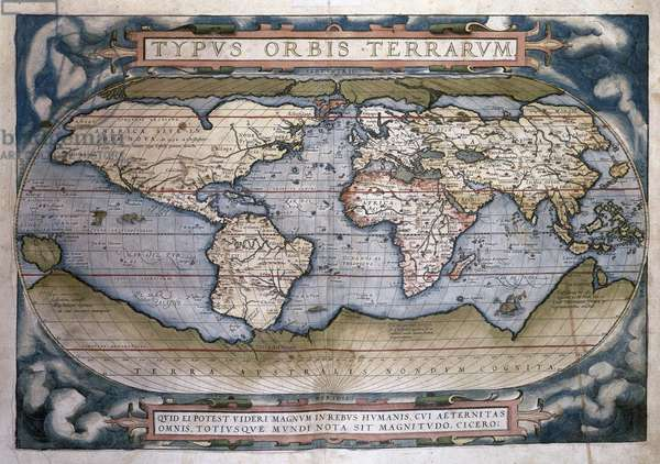 Theatrum Orbis Terrarum (Theatre of the World) by Abraham Ortelius. World Map.