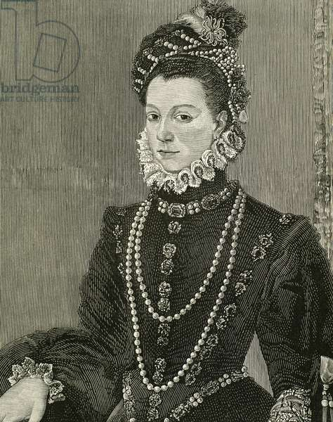 Elisabeth of Valois (1545-1568). Spanish queen consort. Portrait (engraving)