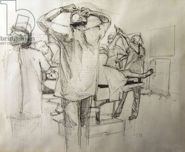 Operating Theatre, 1990 (biro on paper)