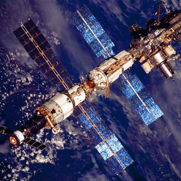 International Space Station photographed by crew members on the Space Shuttle Discovery after undocking, 2001