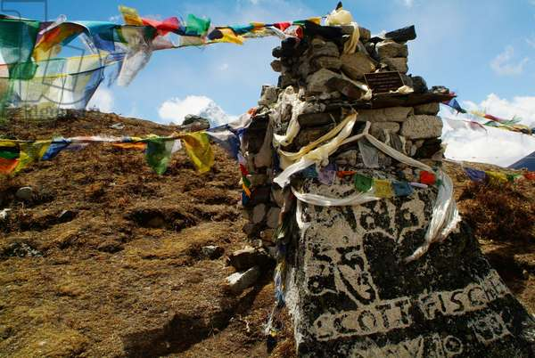 American climber Scott Fischer's memorial on Thokla Pass on the way to Everest, Nepal. April 25, 2007.  (photo)