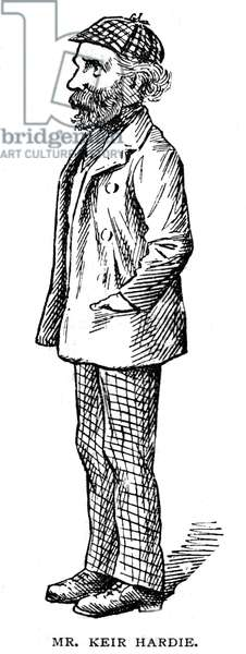 (James) Kier Hardie, a founder of the Labour Party. Cartoon from The Strand Magazine, London, 1903