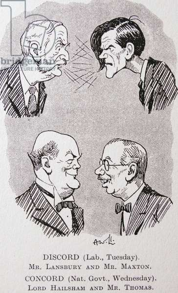George LANSBURY (1859-1940) leader of the Labour party (top 1.) disputing with James Maxtor (1885-1946) j$ extreme-left Labour MPanct leader of tie Independent Labour Party (top r.) having an altercation in the House, while Lord Hail sham (1872-1950);secretary for war and James Henry Thomas (1874-1949) Conservative and Labour members of the national (coalition) Government.