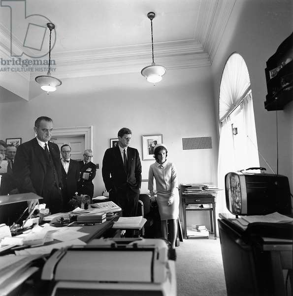 President John F Kennedy and First Lady Jacqueline Kennedy watching flight of Astronaut Alan Shepard