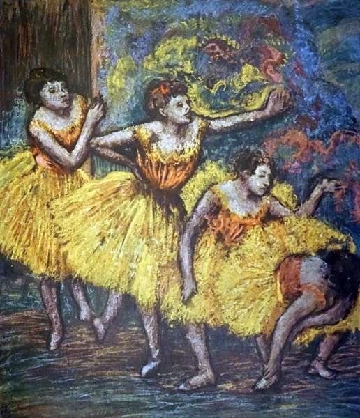 Painting titled 'Four Dancers' by Edgar Degas