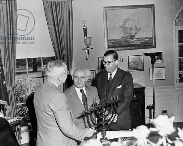 President Truman meeting with Israeli Prime Minister David Ben Gurion and Abba eban, 1948