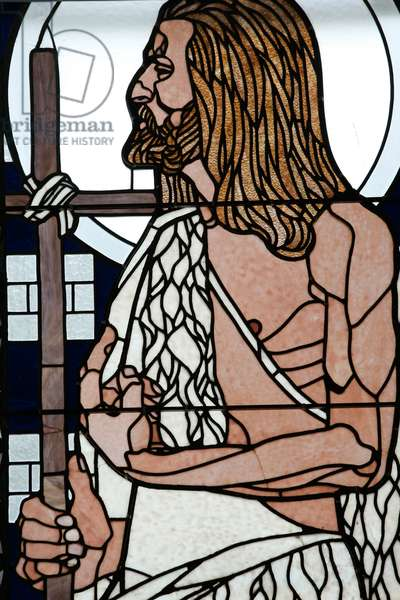 Am Steinhof church (church Leopld), Stained glass by Koloman Moser, Saint Jean (photo)