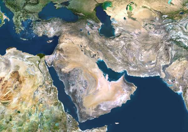 Middle East, True Colour Satellite Image