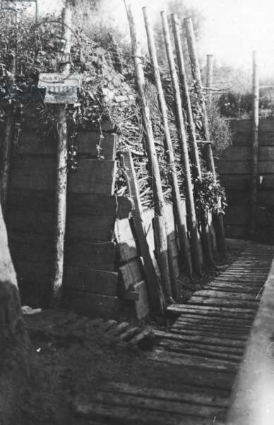 A Trench on the Western Front, 1916 (b/w photo)