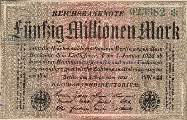 Fifty Million Reischsmark bank note of 1923 during Hyperinflation in Weimar Republic Germany