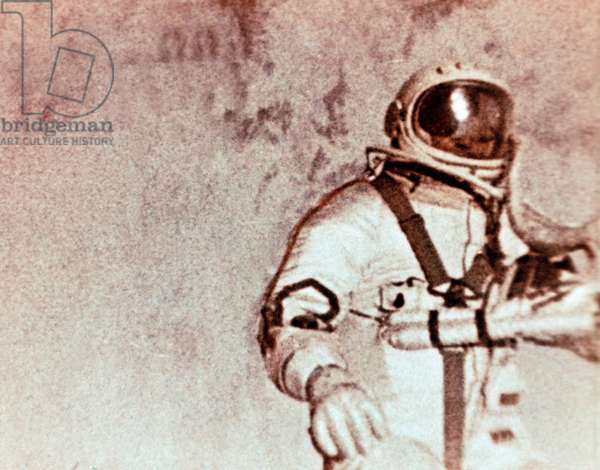 Soviet Cosmonaut Alexei Leonov Doing the World'S First Space Walk (E, V, A, ) During the Voskhod 2 Mission in 1965.
