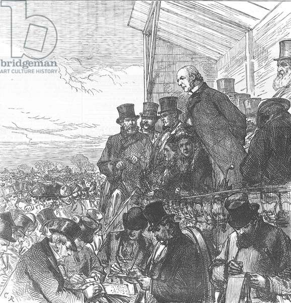 William Ewart Gladstone (1809-1898) giving an election address on Blackheath in his Greenwich constituency. General election February 1874. Gladstone lost to the Conservatives under Disraeli. From The Illustrated London News 7 February 1874.