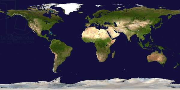 World oceans and continents viewed from space. NASA.