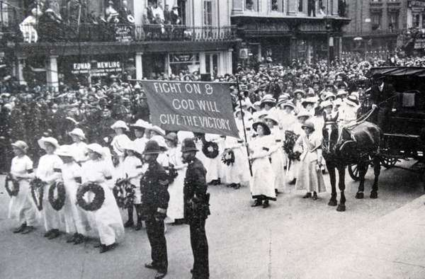At the Derby in June 1913 a Suffragette called Emily Davison threw herself in front of the King's horse at Tattenham Corner and died from the injuries she received.  Her funeral was made the occasion of a Suffragette parade.