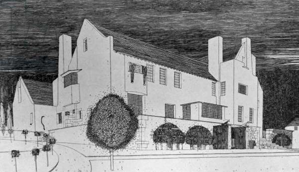 Drawing of Hill House, Helensburgh by Charles Rennie Mackintosh