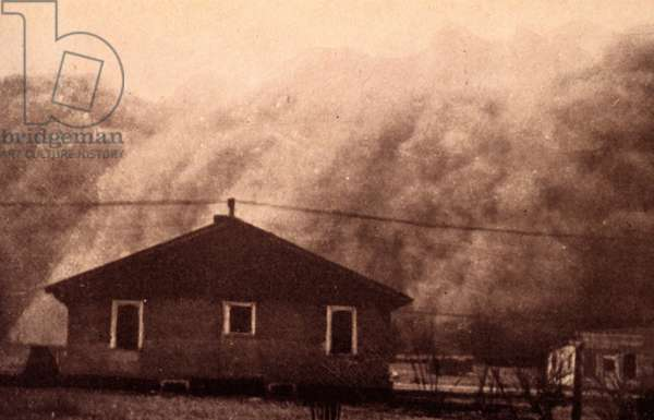 Photograph of a dust storm in Kansas