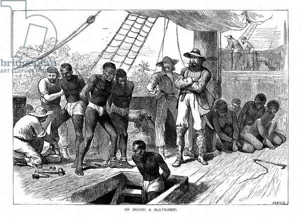 Captives being brought on board a slave ship on the West Coast of Africa (Slave Coast). Wood engraving c1880