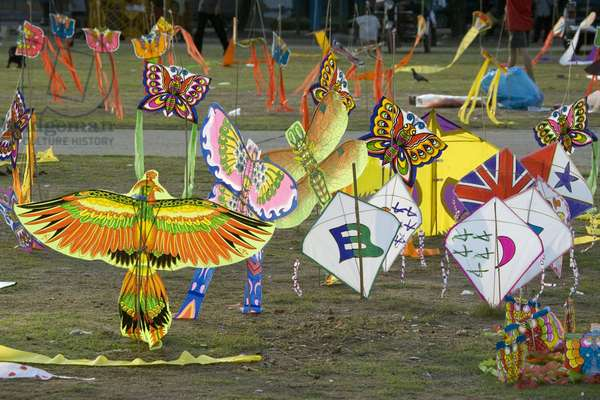 Kites waiting to be sold. Thailand, January 16, 2007.  (photo)