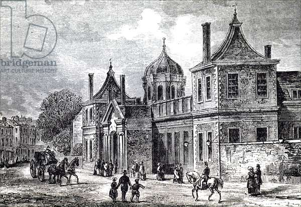 The exterior view of Montagu House, Bloomsbury