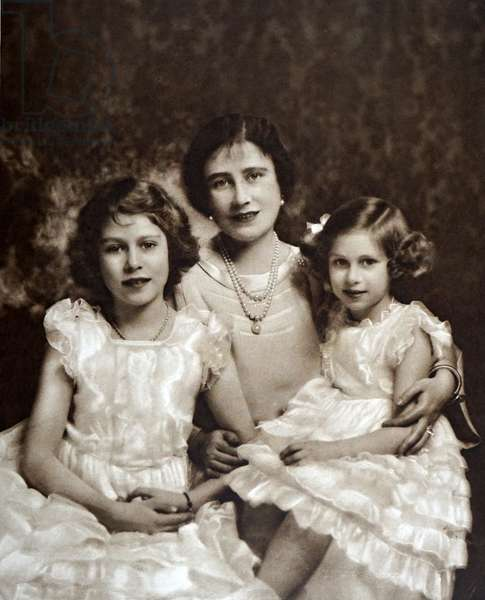 Queen Elizabeth with her daughters Elizabeth (later Queen Elizabeth II and Princess Margaret 1937