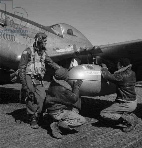 Edward C. Gleed and two unidentified Tuskegee airmen, Ramitelli, Italy, March 1945 1945 (photo)