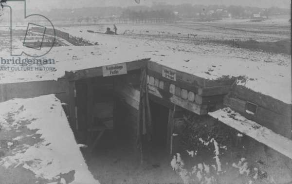 Dugouts on the Western Front, 1916 (b/w photo)