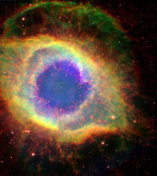 The Helix Nebula (NGC 7293), sometimes called The Eye of God, a large planetary nebula in the constellation Aquarius. Credit: NASA.