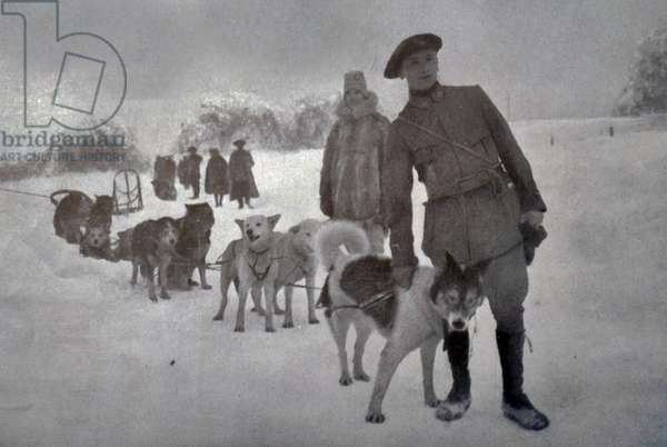 French soldiers in winter snow in Vosges