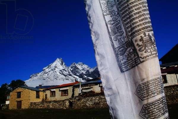 Prayer flags at the Tengboche monastery in Nepal on the trail to the Everest base camp. April 22, 2007.  (photo)