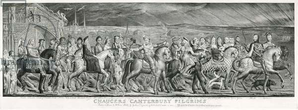 Chaucer's Canterbury Pilgrims'on their journey. Engraving after a painted fresco by William Blake 1810. William Blake (1757-1827) English painter, printer and mystic. The Canterbury Tales by Geoffrey Chaucer (c1345-1400) English poet.
